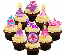 4th Birthday Princess Edible Cup Cake Toppers, 36 Standup Fairy Decorations Girl
