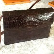 Vintage Leather Shoulder handbag chocolate brown crocodile skin