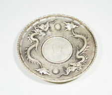 ANTIQUE CHINESE SILVER DISH DOLLAR COIN DRAGON