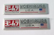 2x Yoshimura Aluminum USA Plate Decal Exhaust System Sticker Silver