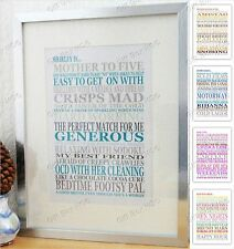 PERSONALISED A4 GIFT TEXT WORD ART PRINT LIKES LOVES MEMORIES BIRTHDAY IDEA NEW