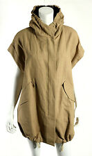 BRUNELLO CUCINELLI $3,645 NWT Brown Cotton Canvas Hooded Drawstring Coat 40