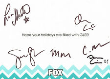 Glee Cast SIGNED Holiday Card Lea Michele Cory Monteith COA
