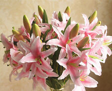 New Artificial Pink Lily Flower bunch For Home Décor Wedding bouquet Love