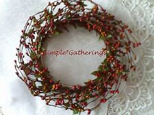 """One 4"""" Pip Berry Candle Ring / Wreath - RED  & TAN Crafts, Primitive, Christmas"""
