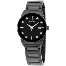Bulova Diamond Collection Black Dial Stainless Steel Men's Watch 98D121