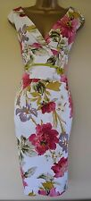 Karen Millen 10 Stunning Floral Satin Wedding Races Cruise Pencil Dress £180