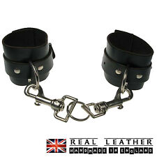 Black Handcuff Keyring Studded 100% Real Leather Handmade In England