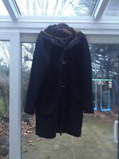 Mens black duffle coat , hooded size XL