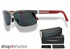 Porsche Design Titanium Semi Rimless Sunglasses GUNMETAL_RED_GREY P8561 A V599