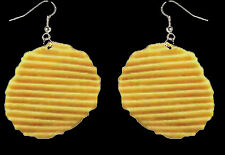 Huge Funky Realistic POTATO CHIP EARRINGS Funny Punk Snack Food Costume Jewelry