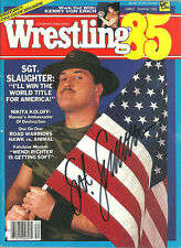 Sgt. Slaughter signed Wrestling 1985  magazine w/COA  Excellent  9/10 Condition