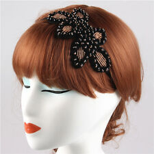 VINTAGE DECO BLACK FLAPPER 20S GOLD&BLACK BEADS DIAMANTE HEADBAND HAIRPIECE WED