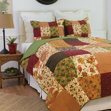 Rustic Lodge King Size 3 Pc Quilt Set-Quilt+2 Over-sized Shams-Orange/Green/Gold