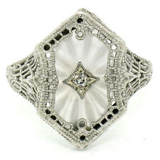 Antique Art Deco ESEMCO 14K White Gold Camphor Glass & Old Diamond Filigree Ring