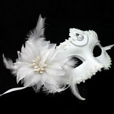 White Flower&Feather Venetian Masquerade Ball Halloween Carnival Party Eye Mask