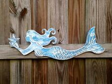 "Mermaid Distressed Wood Beach Decor Ocean Sea 24"" Carved Sign"