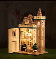 DIY Wooden Dollhouse With LED Light Assembled Doll House Moonlight Castle Gift
