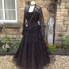 Whitby Goth Steampunk Vittoriano Lungo Nero Rete Maxi Gonna Freesize (1769)