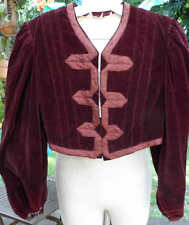 "Vintage Edwardian Era Dark Cranberry Red Velvet Jacket w/unlined padding 36""bust"