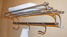 """Paris Hotel Towel Rack Shelf w/ Hooks ~ Large 26"""" in Brushed Nickel"""