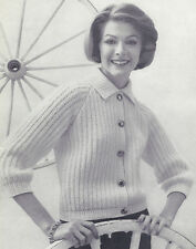 Vintage Knitting PATTERN to make Basic Short Cardigan Sweater Jacket BasicCardig