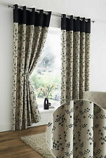 "EYELET READY MADE LINED CURTAINS 66"" x 90"" CORVETTE BLACK FLORAL BEIGE TAUPE"