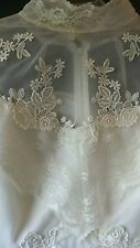 VINTAGE VICTORIAN PLEATED CHIFFON LACE HIGH COLLAR WEDDING GOWN SIZE 19-20