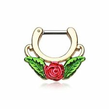 "Septum Clicker 14g 1/4"" 6mm Golden Rose Blossom Icon Jewelry Septum Clicker"
