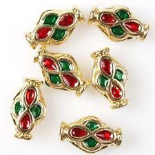 15pcs Red&Green Enamel Alloy Loose Spacer Beads Charms Fit DIY Bracelet Crafts C