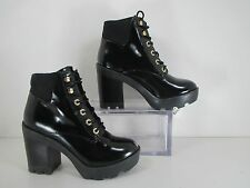 Aldo Maccari Faux Patent Lace Up Chunky Platform Heeled Ankle Boots Sz 8.5