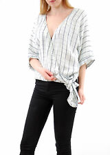 Free People Women's Made in The Shade Wrap Top Short Sleeve Cloud Pop XS BCF59