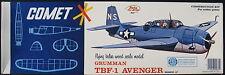 """COMET 3403 - GRUMMAN TBF-1 AVENGER - 20"""" - Balsa Holz Flugzeug Modellbausatz Kit"""