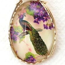 Flower Peacock Glitter Glass Cameo Cabochon Pendant 14K Rolled Gold Jewelry