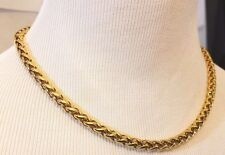 "Monet Gold Tone Oversize Rope Chain Link Necklace 18"" Heavy Textured Signed"