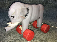"WOODEN ELEPHANT On Wheels PULL TOY Circus 9"" VINTAGE COLLECTIBLE Hand Carved"