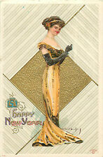 """R. FORD HARPER A/S """"HAPPY NEW YEAR"""" BEAUTIFUL WOMAN IN GOWN 1911 P/C"""