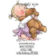 New Stamping Bella Cling Rubber Stamp LOVE ya CHILD AND TEDDY BEAR FREE US SHIP