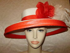Kentucky Derby Hat BOATERS HAT FLIPPED UP OR DOWN BRIM Red and White Feathers