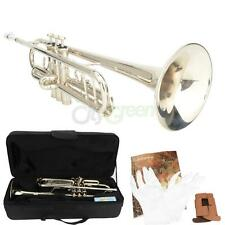 New LT-10 Alloy Silver Bb Trumpet with Mouthpiece Shoulder Straps Gloves Ca