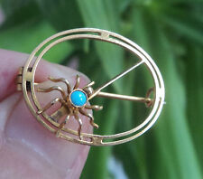 Vintage 9ct Yellow Gold & Turquoise Spider Insect Brooch c.1910 / 20