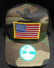New Era Camo Army Mesh Snapback Hat /  Cap With American Flag Patch Gold Border