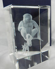 Crystal Block with Laser Etched Monkey / Ape - BNIB Gift Boxed