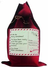 RED CHRISTMAS SACK 48cm x 78cm: HoHoHo Xmas Sack From X Deliver To North Pole