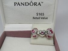 New w/Box Pandora Gift Set of 3 Charms Treasured Hearts & Wild Hearts Glass Love