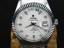 VINTAGE TITONI COSMO KING 2834-1 25J SS SWISS ETA DAY DATE AUTOMATIC MENS WATCH