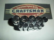 "CRAFTSMAN HAND TOOLS 10pc LOT 1/4"" Dr DEEP 6pt SAE ratchet wrench socket set !"