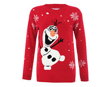 Womens Ladies Ugly Christmas Sweater Olaf Frozen Snowman Size L XL Red New Party