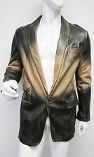 New NWOT Dolce & Gabbana Mens Brown Ombre Leather Blazer Jacket 54 US 44