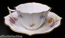 Meissen Floral Flowers 19th Century Unusual Shape Demitasse Cup Saucer - C